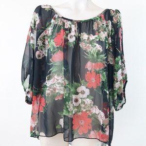 b16ca59beee Poema sheer floral Cold Shoulder blouse.